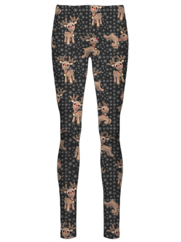 Elsie Black Reindeer Flakes Xmas Leggings 8-34
