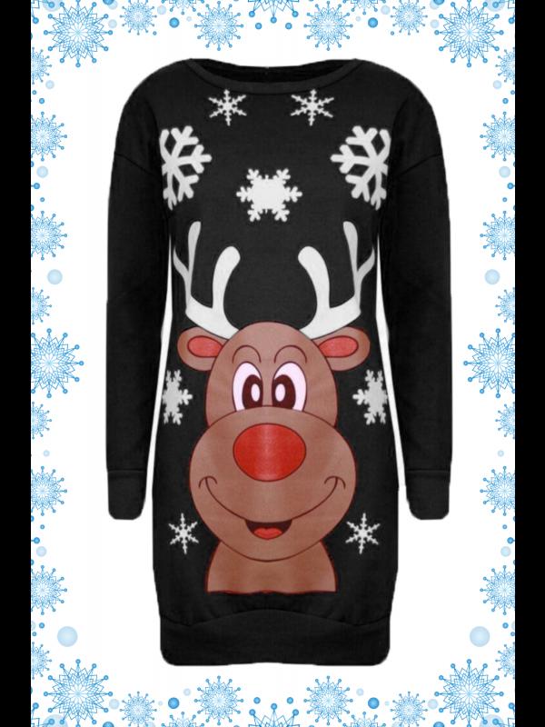 Esmay Plus Size Reindeer Face Print Xmas Jumpers 16-22