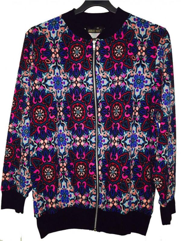 Rosa Multicolor Paisley Print Zip Up Ribbed Bomber Blazer Jacket 14-16