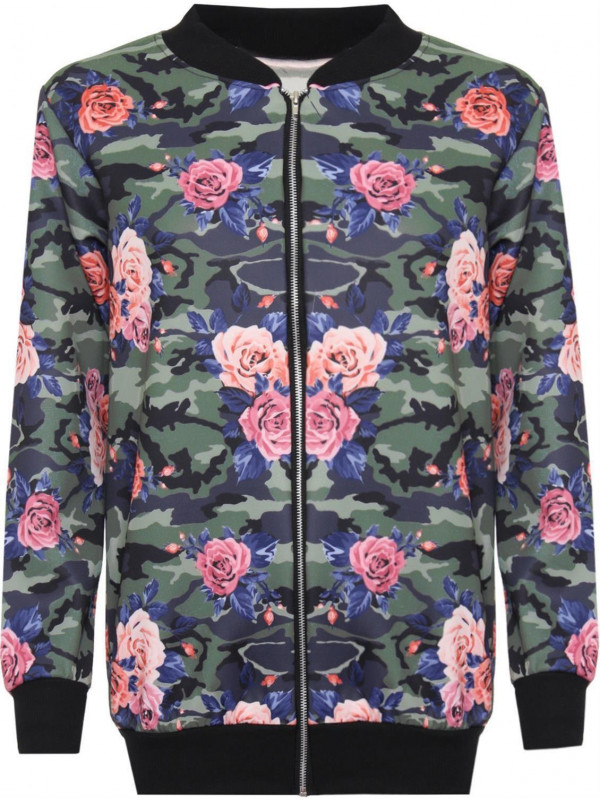 Waist Band Floral Bomber Jacket Coat 16-28