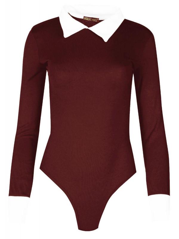 50cc96cec60 Arielle Plus Size Long Sleeve Peter Pan Collar Bodysuit Top 16-22