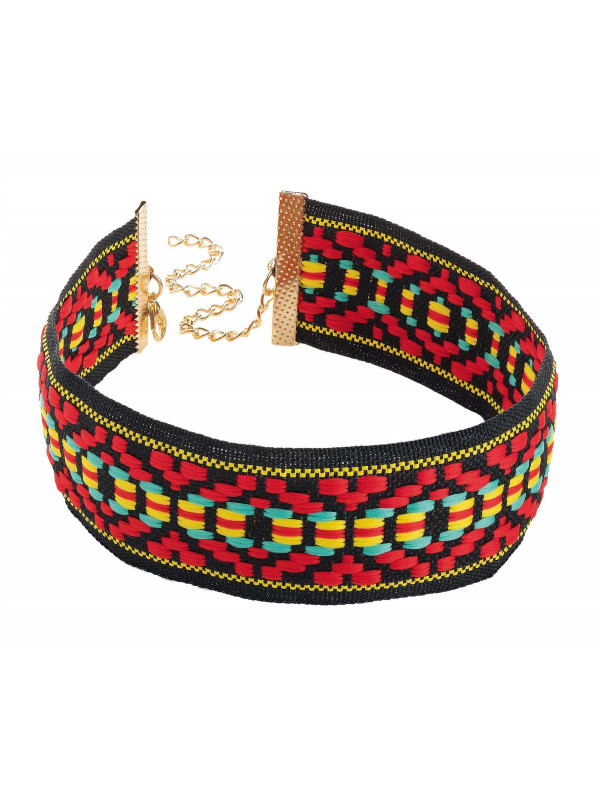 Ruby Red Tone Tribal Print Choker Necklace