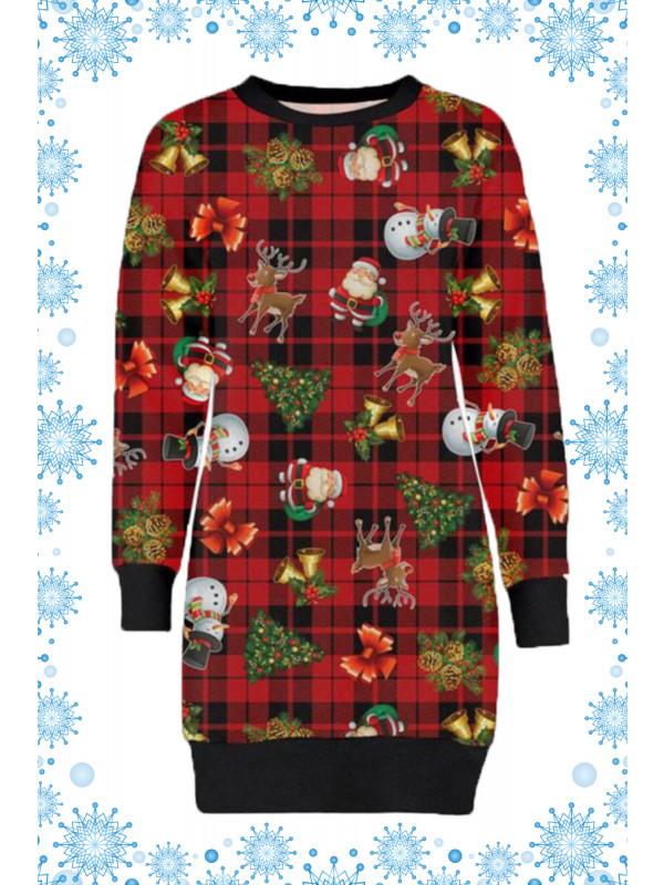 Eleanor Plus Size Tartan Reindeer Print Jumpers 16-22