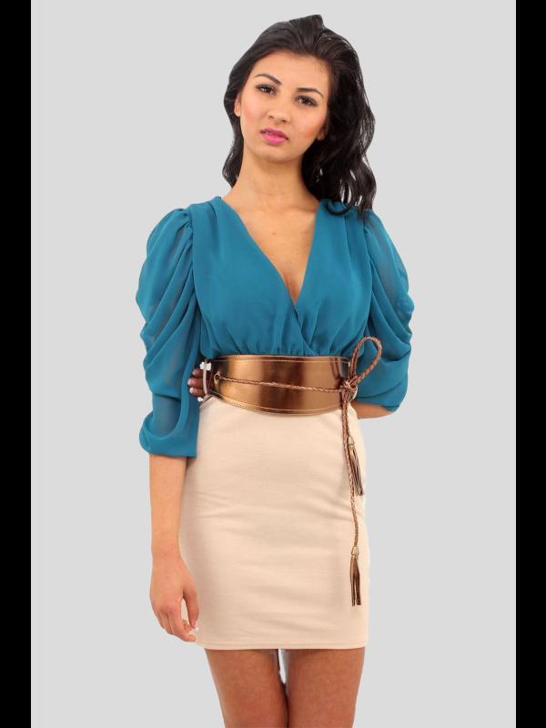 Caterina 2 In 1 Chiffon Drape Sleeve Belted Dress
