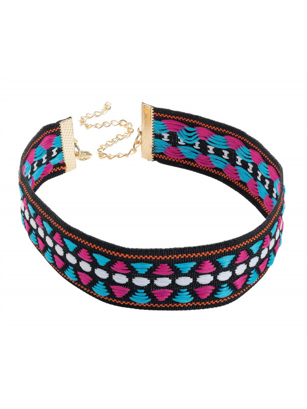 Rhiannon Fuchsia-Blue Tone Tribal Print Choker Necklace
