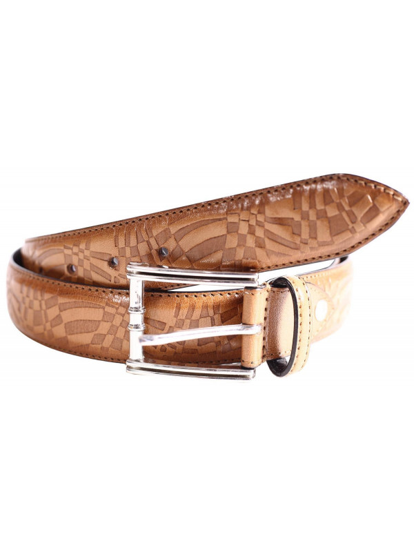 Craig Mens Tan Tooled Multi Pattern Genuine leather Belts S-3XL