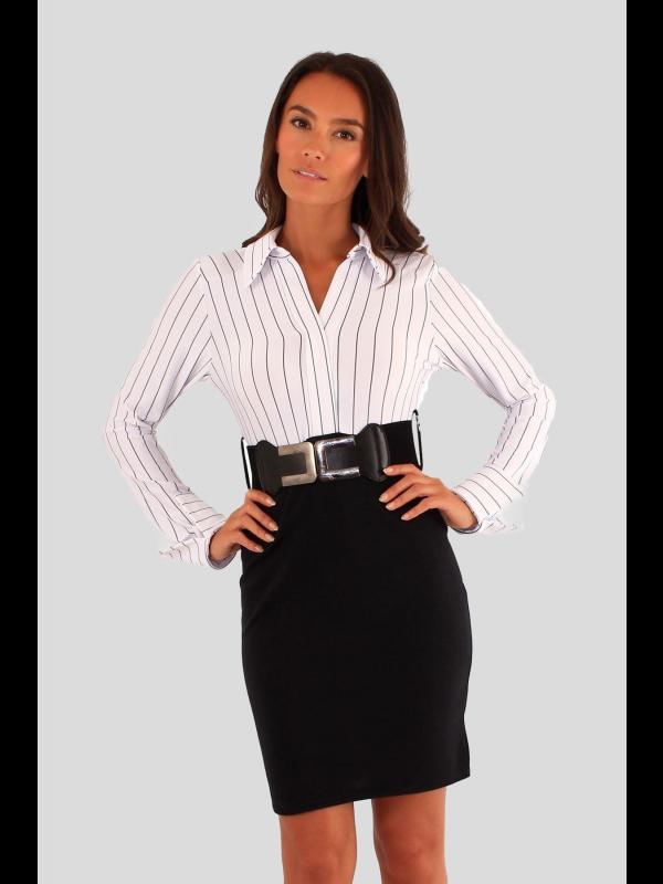 Luana 2 in1 Stripy Belted Office Wear Dress 8-14