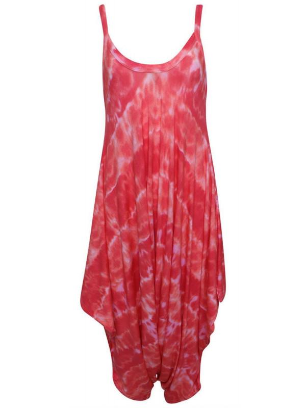Daisy Red Tye Dye Printed Baggy Lagenlook Jumpsuit 8-26
