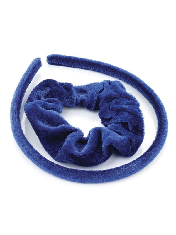 Kassidy Womens Two Piece Velvet Look 7mm Headband and 30mm Scrunchie