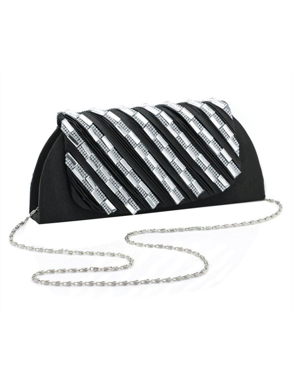 Amelie Ruffle crystal clutch bag