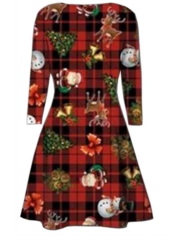 8be5f81eb79bd EMA Plus Size Xmas Santa Gift Bells Print Flared Swing Dress 16-30