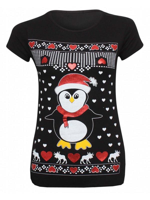Millie Novelty Xmas Penguin Glitter Print T Shirt Tops 8-14