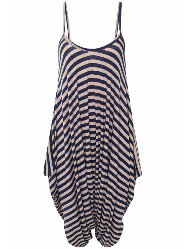 c2d5c60278c Emily Plus Size Navy Stripe Printed Lagenlook Jumpsuit 16-26