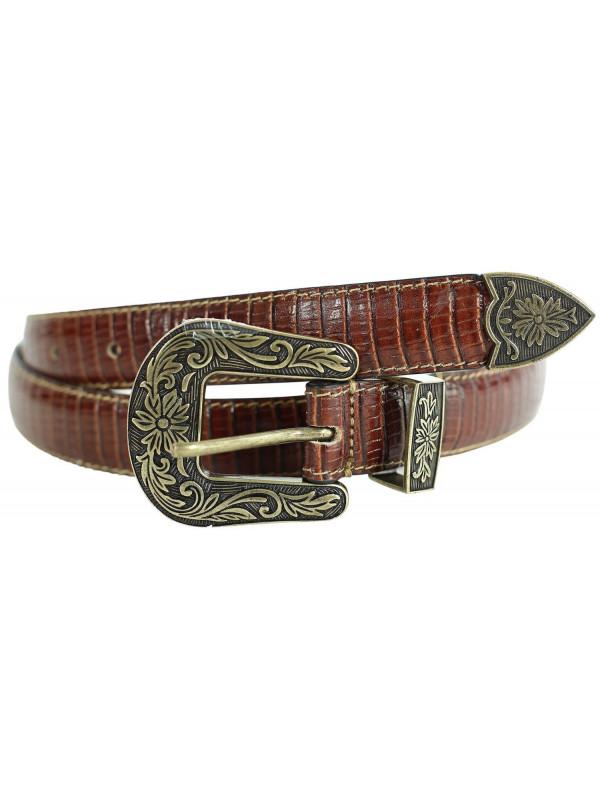 Nur Womens Brown Reptile Skin Genuine Leather Belts M-4XL