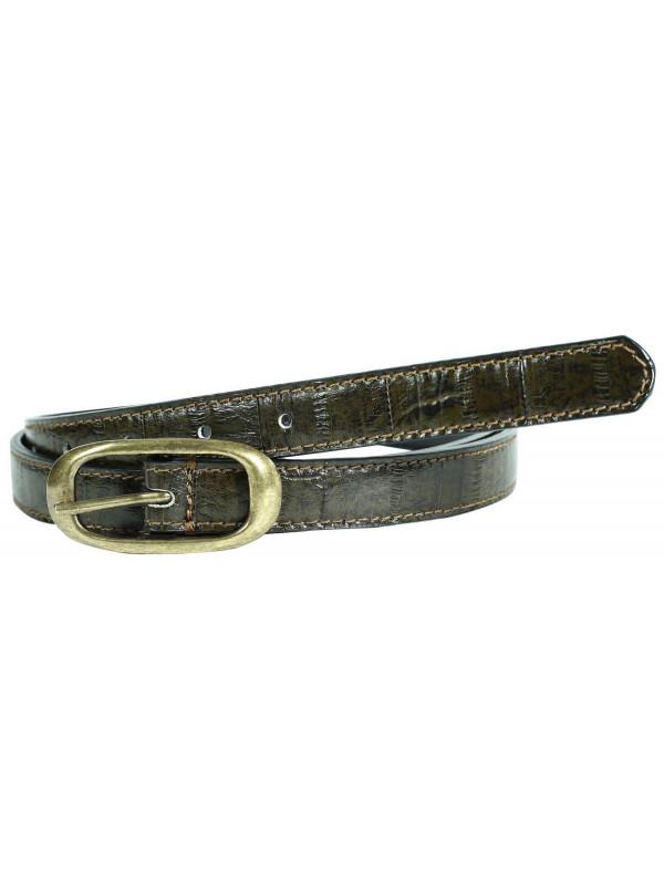 Olive Womens Elf Print Brass Buckle Genuine Leather Belts M-4XL