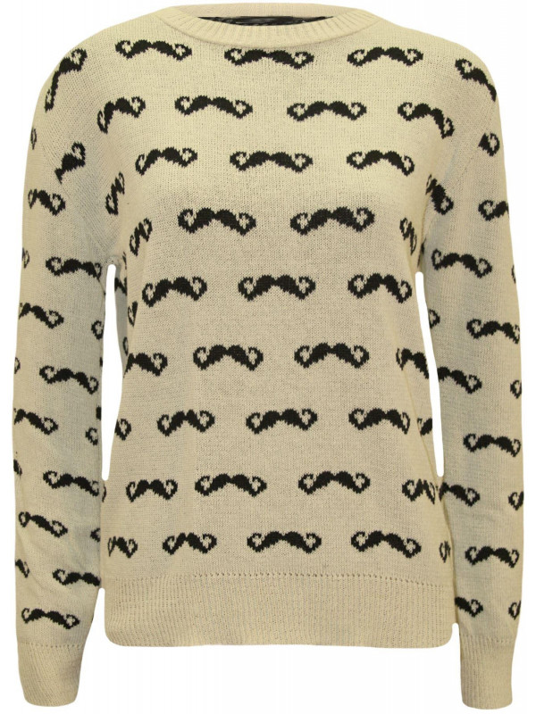 SHAYLA Moustache Print Knitted Jumper 8-14
