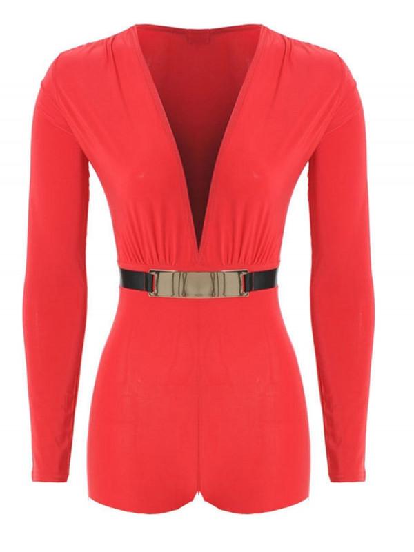 AMIE Gold Belted Plunge Neck Playsuit Dress Jumpsuit Dress 8-14