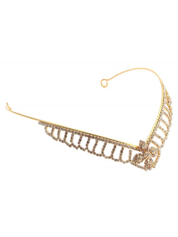 Erin Gold Flower Crystal Tiara Headbands Hair Accessories