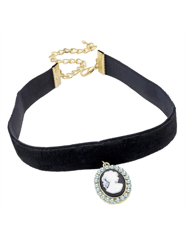 Poppy Cameo Black Pendant Elasticated Choker Necklace