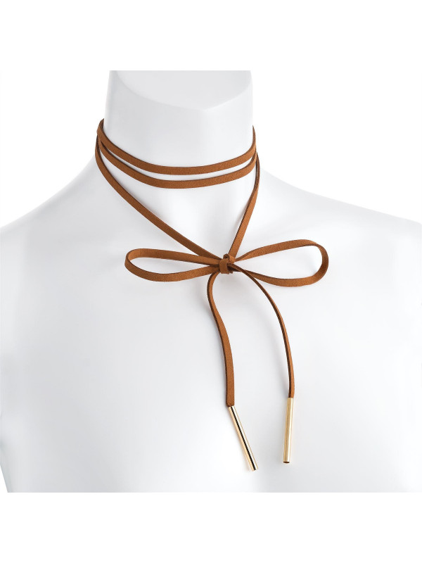 Nicola Brown Velvet Look Endless Tie Necklace
