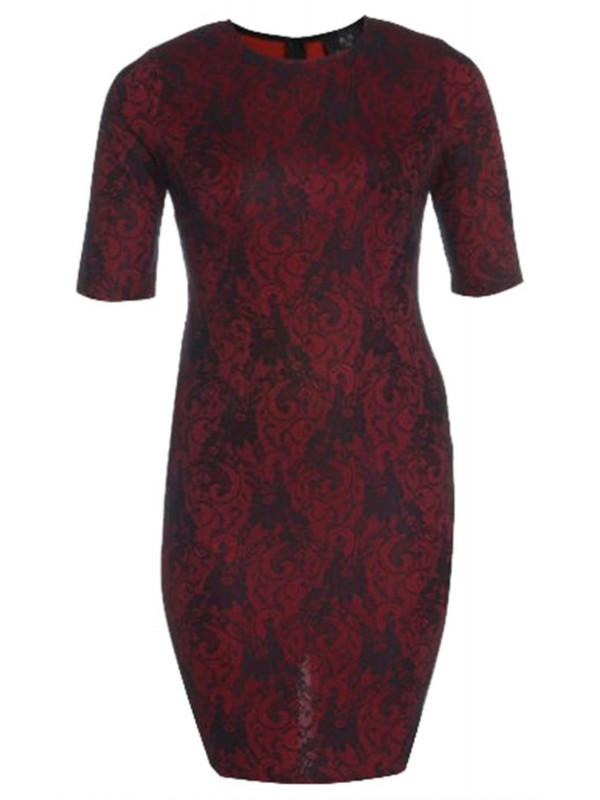 Perla 3/4 Sleeve Lace Bodycon Midi Dress Top