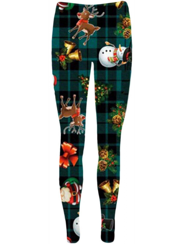 Alice Green Tartan Reindeer Snowman Xmas Leggings 8-34