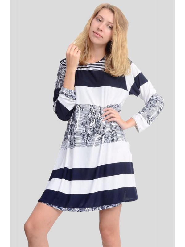 Alaina Navy Abstract Swing Dress 8-26