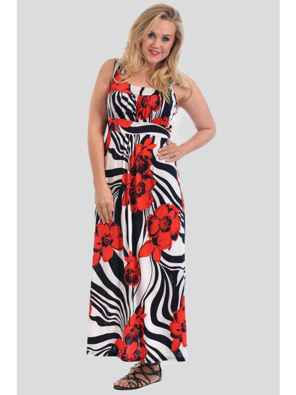 ALMA Plus Size Floral Print Long Summer Maxi Dress 16-28