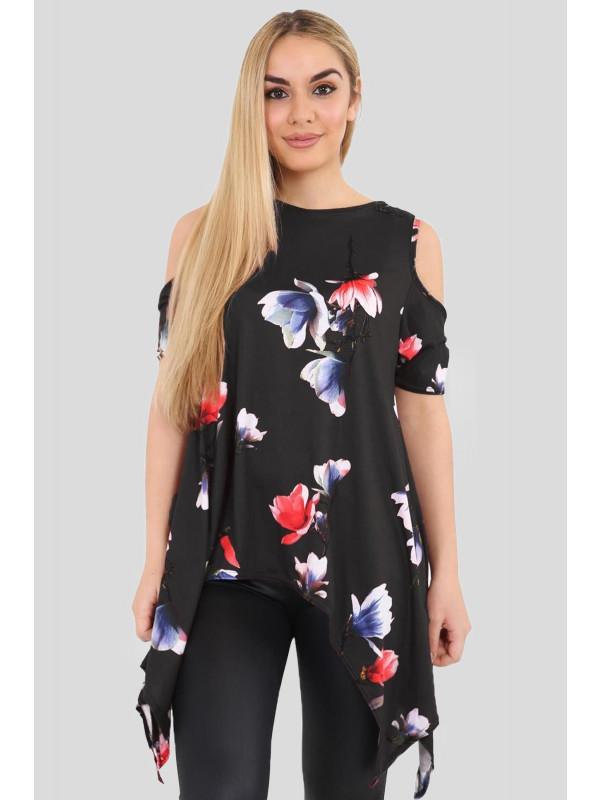 LEXI Cold Shoulder Hanky Hem Black Floral Top 8-14