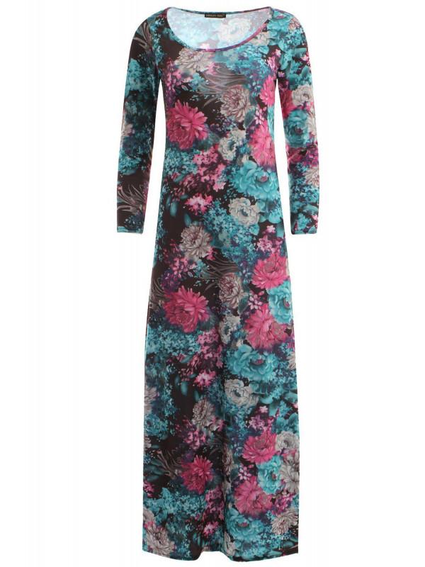 Amelie Cerise Turquoise Floral Scoop Maxi 8-14