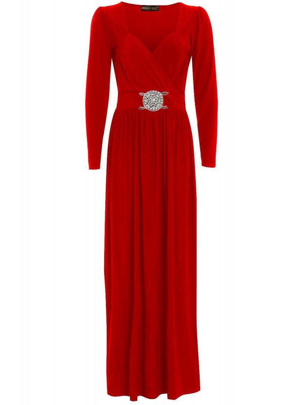 AMINAH Plus Size Wrap Over Buckle Long Maxi Dress 16-26