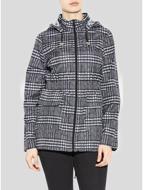 Daria Plus Size Check Print Mac Raincoats 16-24