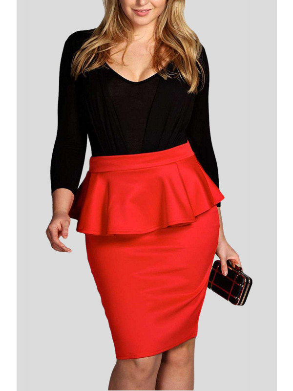 Ariys Plus Size Midi Bodycon Pencil Skirts 16-22