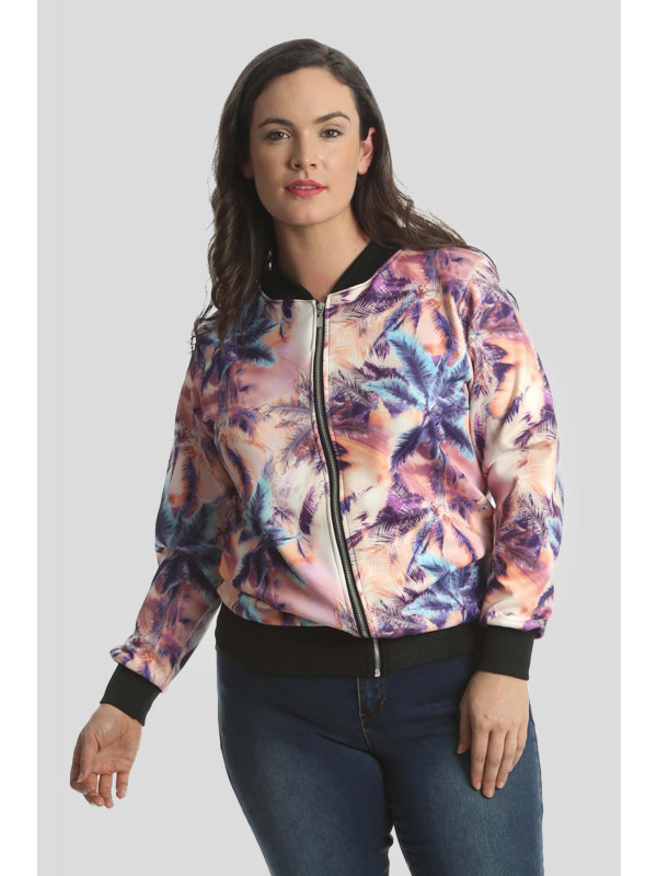 Raya Plus Size Zip Up Ribbed Bomber Blazer Jacket 16-18