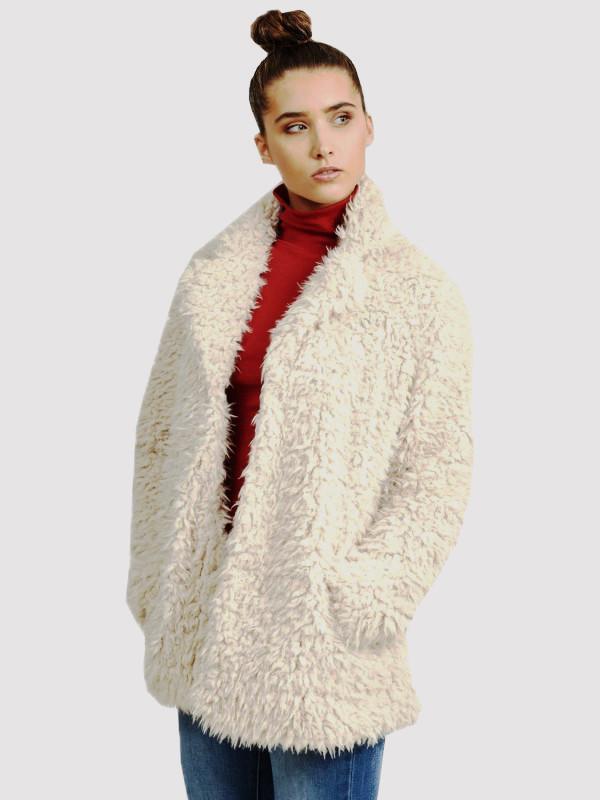 Shaggy Gabriel Faux Fur Popper Fastening Jacket Coat 8-16