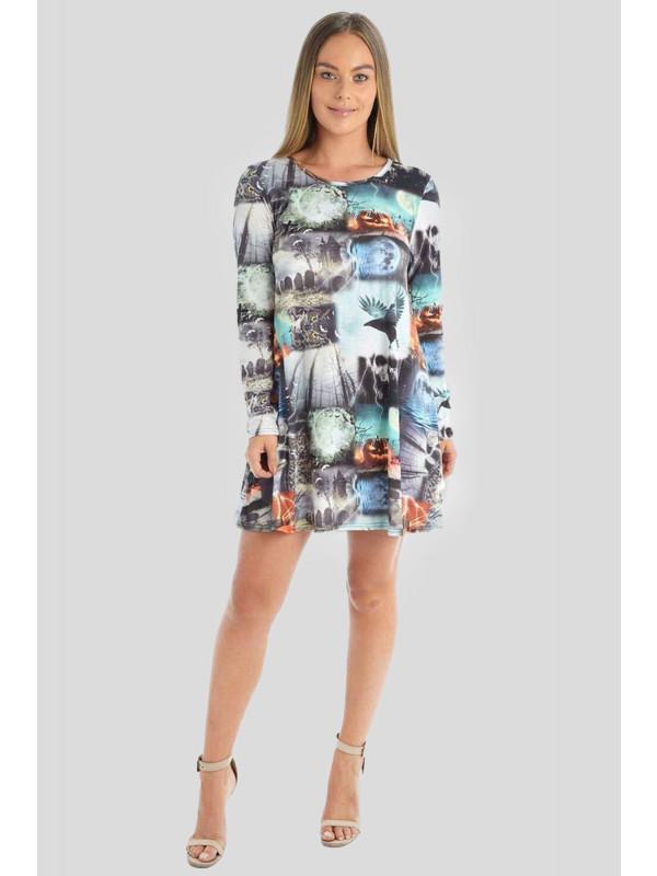 Bethany Halloween Grey-Graves Owl Print Swing Dress 8-26