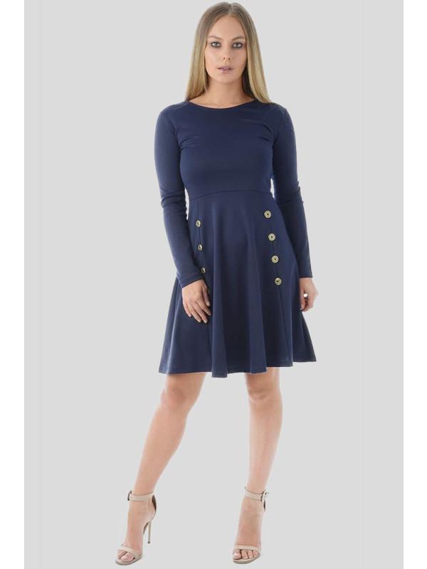 Callie Military Button Skater Dress 8-20