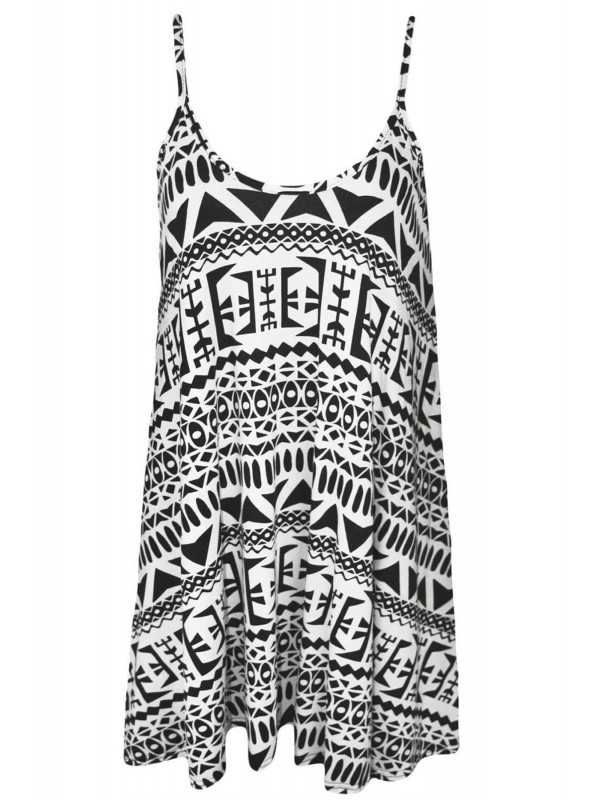 CARLA Big Aztec Print Swing Dress 8-14