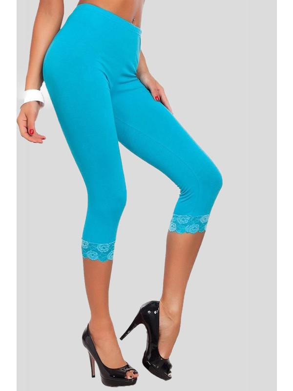 Carmilla 3/4 Plain Lace Trim Stretchy Crop Capri Leggings 12-30