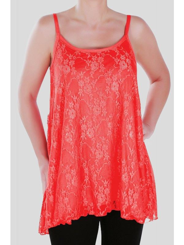 Nicola Plain Floral Lace Vest Tops 12-14