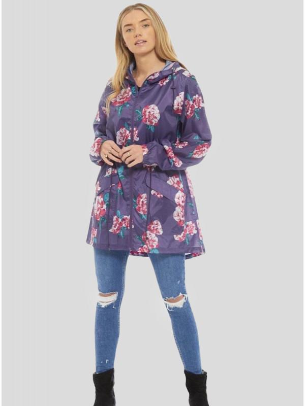 Leyla Plus Size Purple Damson Flower Printed Raincoats L-2XL