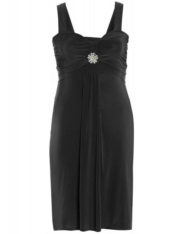 Clara Plus Size Tie Back Jewel Evening Party Broach Dress 16-26
