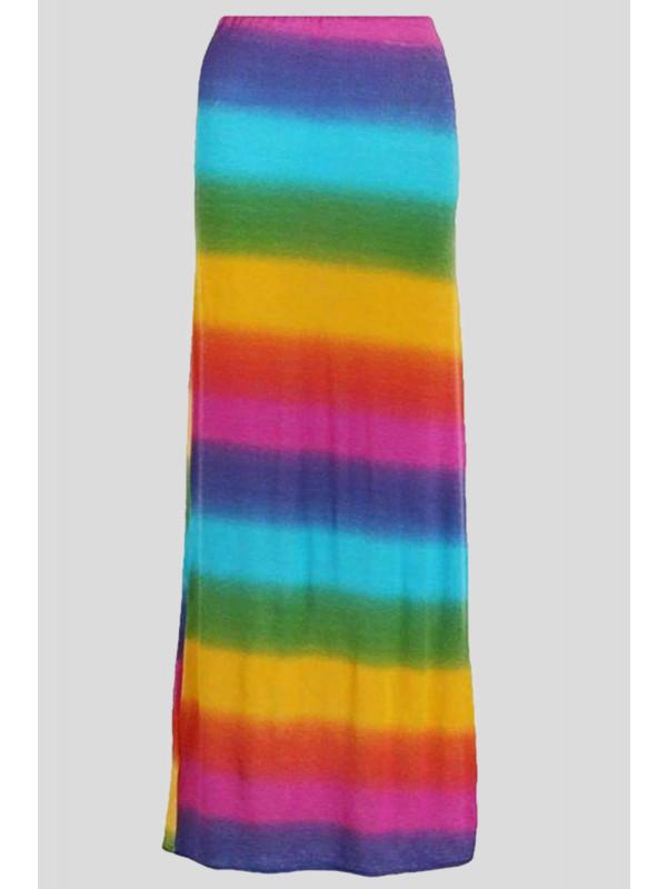 Clara Rainbow Striped Maxi Tube Skirt 8-14