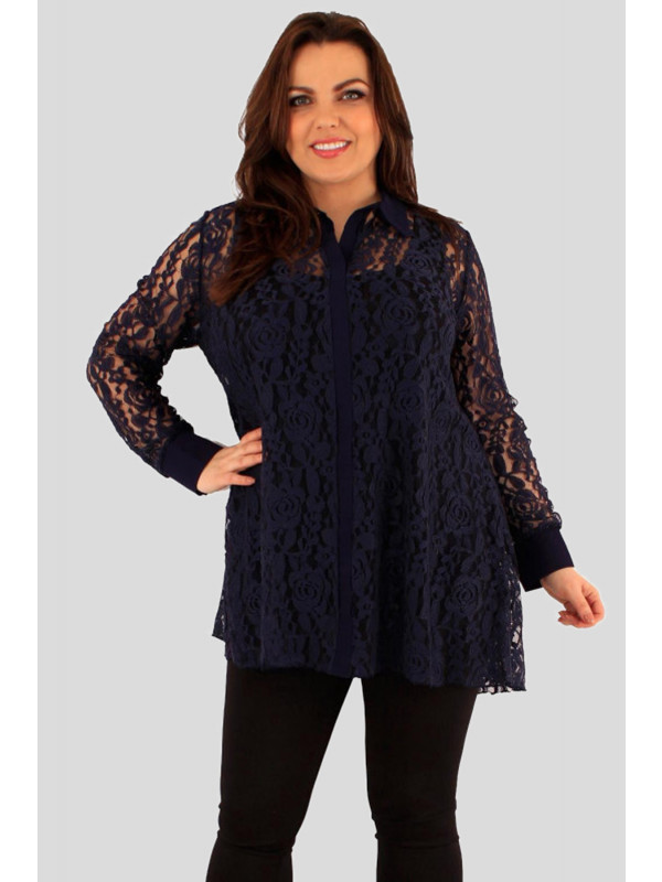 Altheya Plus Size Collared Lace Long Sleeve Shirt Tunic Dress 18-24