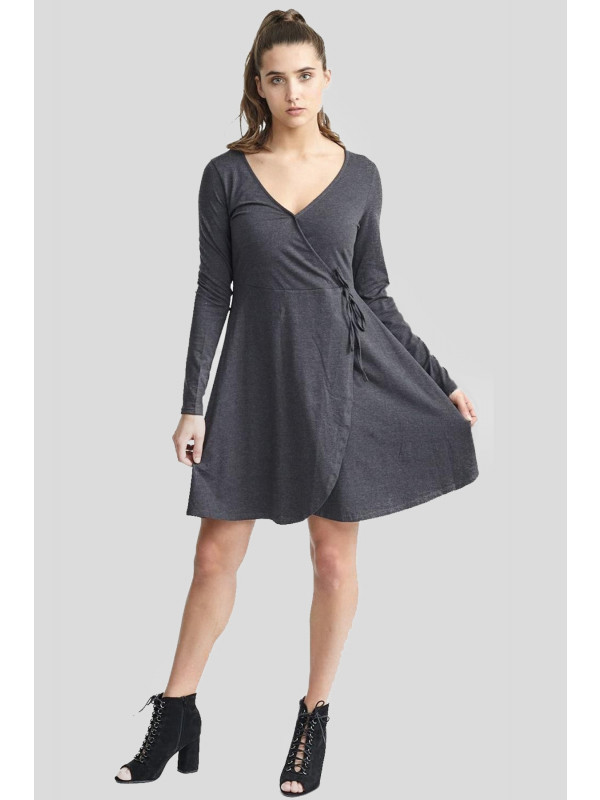 Demi Womens Plus Size Jersey Neck Wrap Over Skater Swing Dress 16-22
