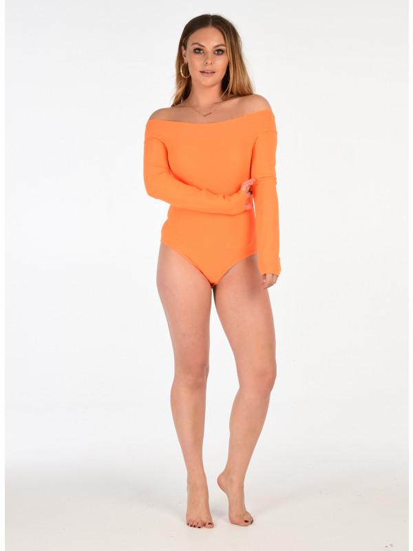 Fions Neon Bardot Off Shoulder Bodysuit Leotard Top 8-14