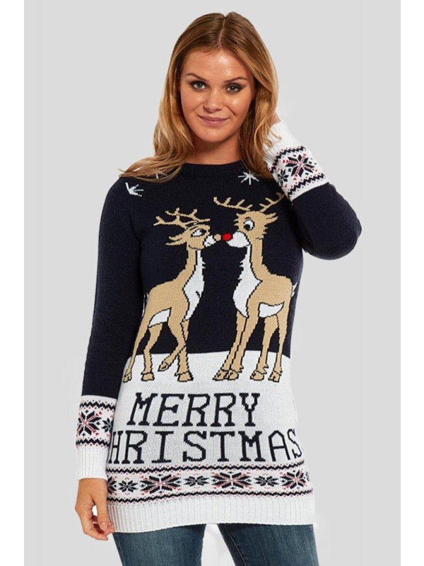 Eliza 2 Reindeers Jumper Dress 8-14