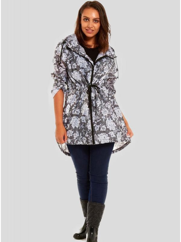 Jenna Plus Size Lace Flower Printed Raincoats L-2XL