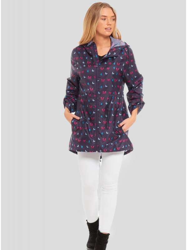 Ruth Plus Size Ditsy Butterfly Printed Raincoats L-2XL