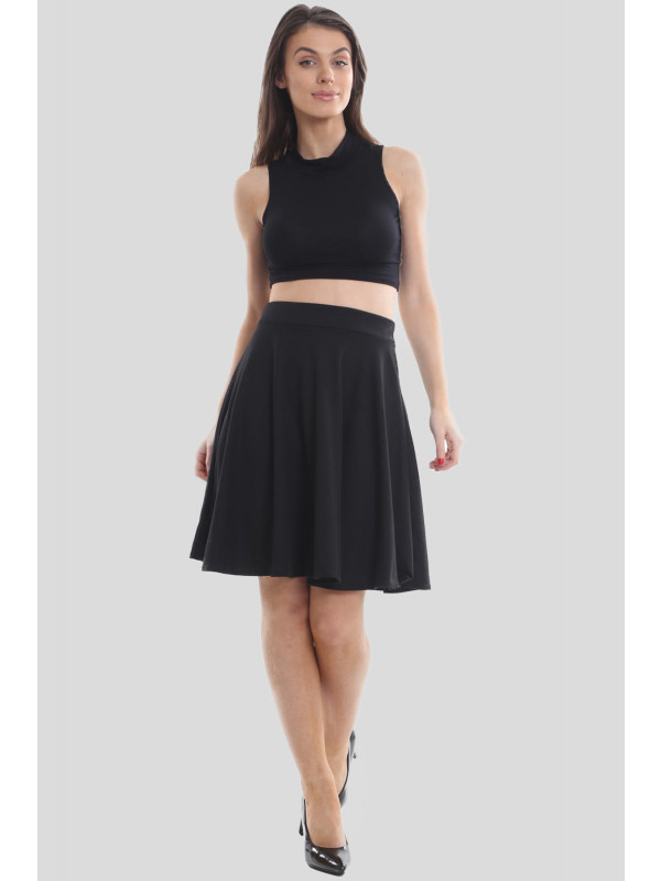 Emma Plain Flared Skater Mini Skirts 14-16